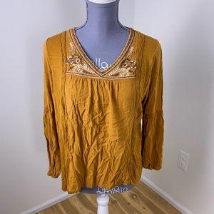 Knox rose yellow embroidered boho blouse medium